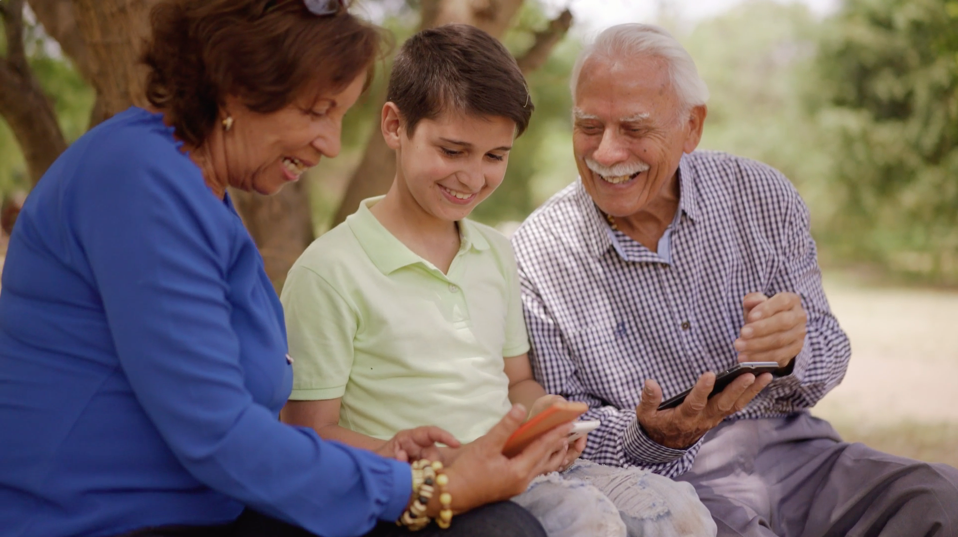 Grandparents ask grandson for help entering Family Medical History into ICmed mobile app